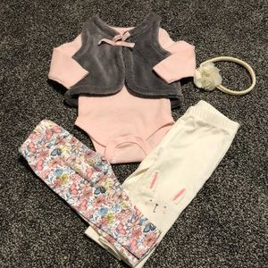 3 month girls matching outfit with headband 🎀